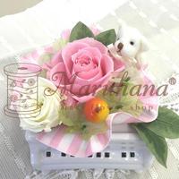 プチグランドピアノ ホワイト/ピンク【送料無料】専用クリアケース付 プリザーブドフラワー